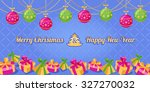 christmas and new year greeting ... | Shutterstock .eps vector #327270032