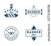 set of vintage barber shop... | Shutterstock .eps vector #327318038