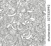 cartoon hand drawn doodles on... | Shutterstock .eps vector #327333992