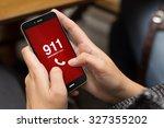 emergency concept  girl using a ...   Shutterstock . vector #327355202