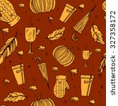 autumn pattern with leaves ... | Shutterstock .eps vector #327358172
