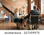 exciting boardroom meeting with ... | Shutterstock . vector #327359975