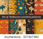 set of halloween seamless... | Shutterstock .eps vector #327367382