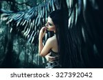 black angel. pretty girl demon... | Shutterstock . vector #327392042