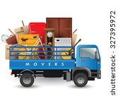 moving services. truck car with ... | Shutterstock .eps vector #327395972
