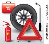 car equipment. warning triangle ... | Shutterstock .eps vector #327396656