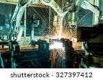 team welding robots represent... | Shutterstock . vector #327397412
