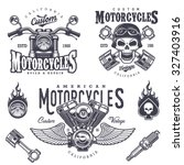 set of vintage motorcycle... | Shutterstock .eps vector #327403916