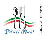 italian menu with cutlery and... | Shutterstock .eps vector #327404222