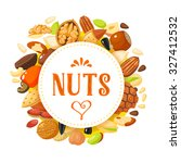 round label with nuts  hazelnut ...   Shutterstock .eps vector #327412532
