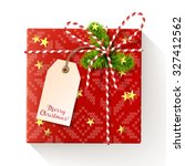 red square christmas gift box...   Shutterstock .eps vector #327412562