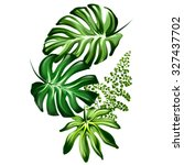 tropical leaf illustration | Shutterstock . vector #327437702