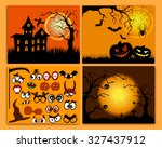 set of flyers for halloween... | Shutterstock .eps vector #327437912