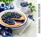 Blueberry Pie In Enamel Baking...
