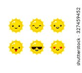 Cute Sun Emoticons In Modern...