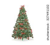 decorated christmas tree on... | Shutterstock . vector #327491102