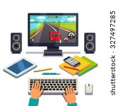 student is gaming on a desktop... | Shutterstock .eps vector #327497285