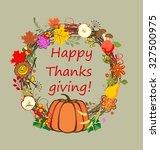 autumnal wreath for thanksgiving | Shutterstock .eps vector #327500975