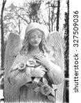 Angel  Stone Carving.  Digital...