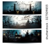 Vector Set Of Three Halloween...