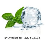 Ice Cube And Basil Leaves...
