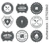 vintage emblems  labels. food... | Shutterstock .eps vector #327523862