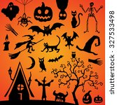 halloween vector silhouettes... | Shutterstock .eps vector #327533498