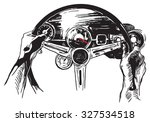 Vanishing Point. The first reason to love USA. An hand drawn vector, Freehand sketch. Muscle car interior - it is not about any particular car interior, logos are devised by author of the illustration - stock vector