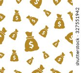 seamless pattern with money bag ... | Shutterstock .eps vector #327551942