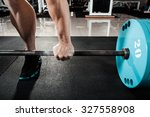 hand on the barbell. young... | Shutterstock . vector #327558908