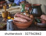 Stock photo medieval food and crockery 327562862