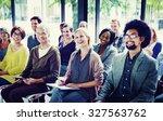 multiethnic group seminar... | Shutterstock . vector #327563762