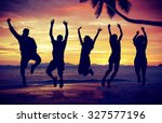 people celebration beach party... | Shutterstock . vector #327577196