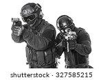 studio shot of swat police... | Shutterstock . vector #327585215