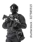 studio shot of swat operator... | Shutterstock . vector #327585515
