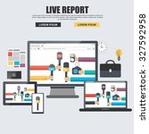 flat concept for live report ... | Shutterstock .eps vector #327592958