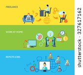 freelance online work at home... | Shutterstock . vector #327617162
