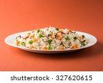 indian pulav or veg biryani...   Shutterstock . vector #327620615