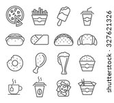 fast food art line icons.... | Shutterstock .eps vector #327621326