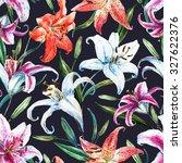 watercolor flower pattern ... | Shutterstock . vector #327622376