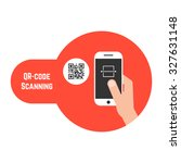 qr code scanning in red bubble. ... | Shutterstock .eps vector #327631148