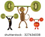 group of funny vegetables... | Shutterstock . vector #327636038