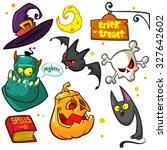 set of halloween pumpkin and... | Shutterstock .eps vector #327642602