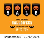 halloween sale with sales ribbon | Shutterstock .eps vector #327649076