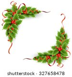 vector evergreen holly with... | Shutterstock .eps vector #327658478