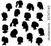 black silhouette woman profile | Shutterstock . vector #32767165