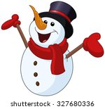happy snowman looking up and... | Shutterstock .eps vector #327680336