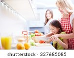 young woman helping her... | Shutterstock . vector #327685085