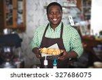 happy baker with croissants... | Shutterstock . vector #327686075