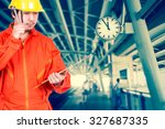 asian engineers thinking and... | Shutterstock . vector #327687335